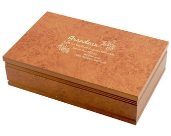 Engraved Burlwood Jewelry Box for Grandma