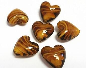 6pc 20mm lampwork heart shape glass beads-7538c
