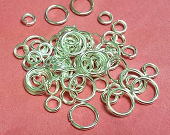 1 oz 6mm to 10mm Silver Finish Jump Ring Mix-383J