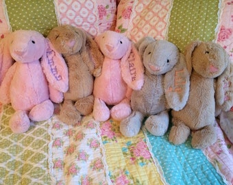 Monogrammed Plush Easter Bunny Bunnies / Stuffed Easter Rabbit / Personalized Bunny / Toy Bunny Rabbit with Name and Date / Plush Bunnies