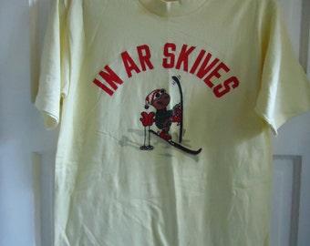 Vintage 70s Danish SKI T Shirt sz S
