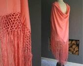 Large Fringed Silk Piano Shawl in Salmon Pink