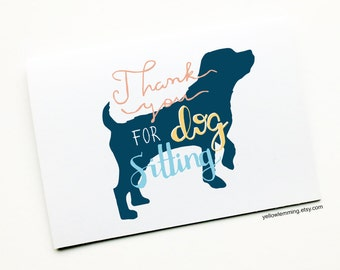 Pet Sitting, Animal Thank You Card, Thank You For Dog Sitting, Pet Card, Thank You For Looking After Pet, Dog Thank You Card, Dog Card