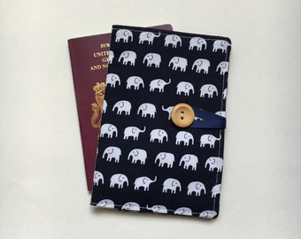 Passport cover case cute mini elephant navy fabric wooden button elephant inner pockets