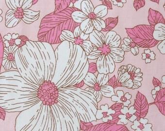 Vintage Sheet Fabric Fat Quarter - Pink Outline Floral