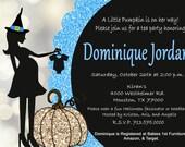 Halloween Baby Shower Blue Glitter Invitation Pumpkin Baby Shower Invites  Mom-to-Be Party Invitations Print at Home