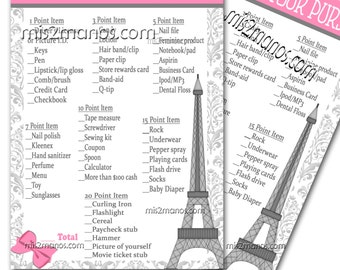 Paris Baby Shower Game What's in Your Purse Baby Shower Game, Shower Game  Digital Instant Download