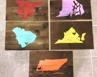 State/ Country on wood