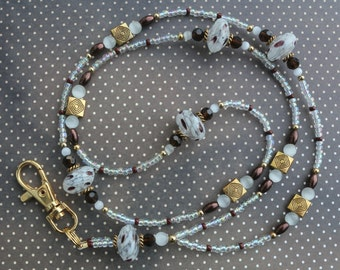 O O A K - Lampwork Glass Beaded Lanyard ID Badge Holder - CHOCOLATE CHIPS - N 142