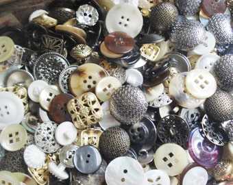 Button Grab Bag - Two Pounds Buttons - Metals and Plastic Button Mix - Fancy Silver and Gold Metal Button Mix - Assorted Vintage Buttons