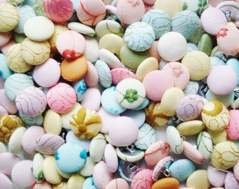 Vintage Fabric Buttons Grab Bag - 50  Satin Buttons - Rainbow Pastel Cloth Buttons - Embroidered Buttons - Pink Turquoise Cloth Buttons