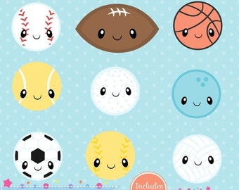 80% OFF - INSTANT DOWNLOAD, kawaii sports clipart and vectors for personal and commercial use