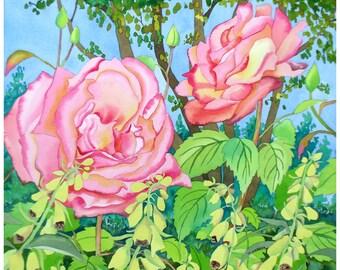 Botanical Roses and Foxgloves Fine Art Original Watercolour Painting