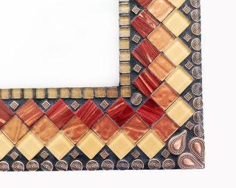Large Mosaic Wall Mirror // Mixed Media Mosaic // Geometric Wall Decor //  Brown, Copper, Maroon Mirror