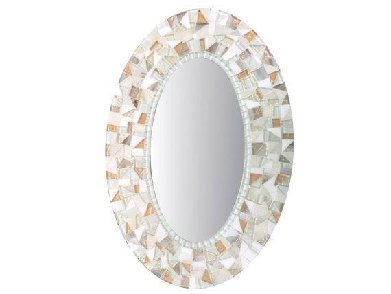 Oval Wall Mirror in White and Gold Mosaic
