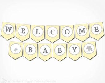 Elephant Baby Shower Banner -  PRINTABLE Banner - DIY Digital File - Gender Neutral - Yellow Gray  - Elegant Elephant Collection