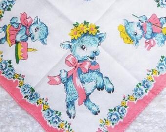 Vintage Hankie Handkerchief Baby Lamb Cotton