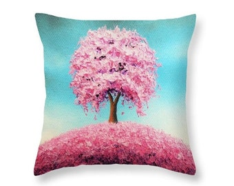 Pink Tree Accent Pillow, Bedroom Pillow, Cherry Blossom Tree, Square Pillow, Contemporary Tree Art, Designer Pillow, Modern Throw Pillow