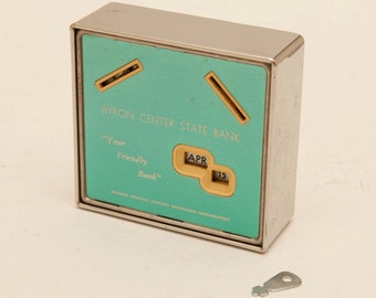 Safe-Coin Calendar Bank - 1960's - Byron Center State Bank - Deposit a coin to change the date - Save Every Day