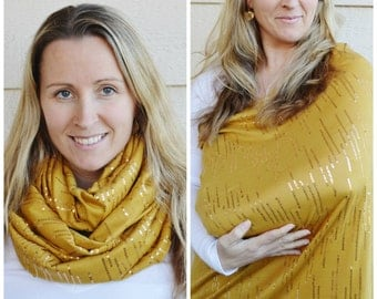 Gold Linear Sequins on Mustard Nursing Scarf /  Cover, Infinity Scarf, Breastfeeding accessory, Breastfeeding cover, Breastfeeding top