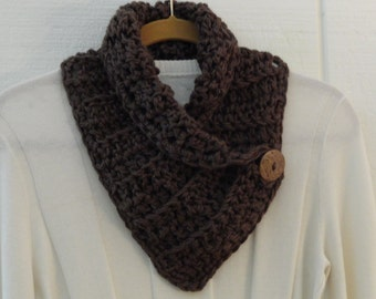 Crochet Button Neckwarmer Taupe Brown Coconut Button Scarf Cowl Scarflette