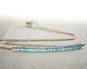 Apatite Bar Necklace Gold Filled Beaded Jewelry Aqua Blue Gemstones