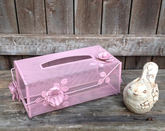 Vintage Metal Tissue Dispenser with Roses - Pink Mid Century Bedroom/Bathroom Decor