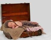 PDF Crochet Pattern Eloise Mini Blanket Layering Blanket Photo Prop