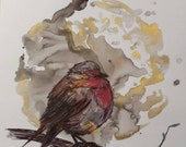 Winter Robin with Gold Ink and Pen