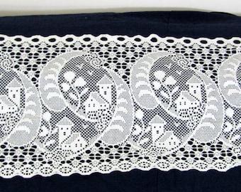 """Gorgeous Vintage White Cotton Woven Lace Valance  18"""" l  x 98"""" w"""
