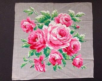 Rose Hankie  - Red Pink Roses Handkerchief -