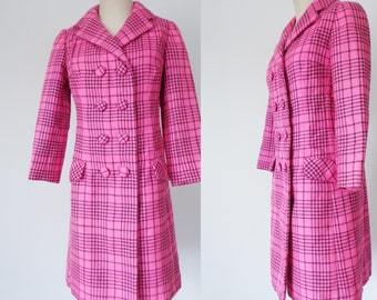 Vtg 60s NEON PINK Wool CHECK Double Breasted Coat, Small