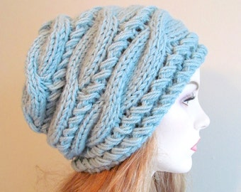 Slouchy Beanie Slouch Hats Oversized Baggy Blue Mint cabled hat  womens Fall Winter accessory Hand Made Knit