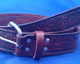 Natural Veg Tan Eagle Embossed Leather Belt Handmade Choice of Colours & Buckles Valencia Leather