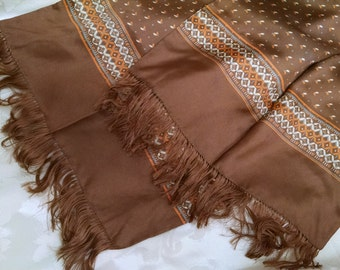 Brown Printed Silk Scarf