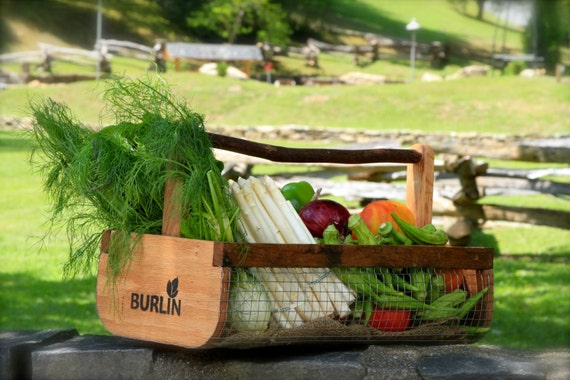 Garden Basket,Garden Harvesting Basket BURLIN, Vegetable Basket,Hod, Picnic Basket, Storage Basket, Large Basket