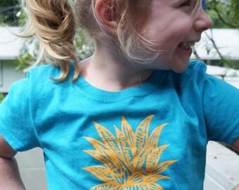 "Little Girls hand drawn ""Fruit of the Spirit- Pineapple "" aqua t-shirt with tangerine design"