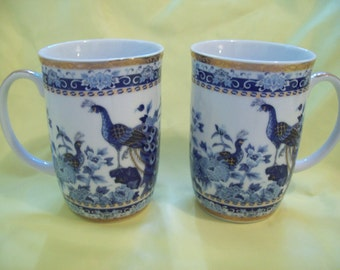 Coffee Cups Lot of 2 Heritage Mint Oriental Porcelain Peacock White Blue Cup