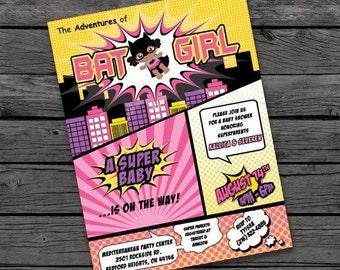 Batgirl Baby Shower Invitation