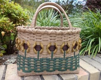 Sunflower Tote Basket Handwoven Basket