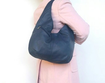 Navy Blue Leather Slouchy Hobo Bag with Outside Pockets - Classic Hobo Purse - Shoulder Purses for Her - alicia