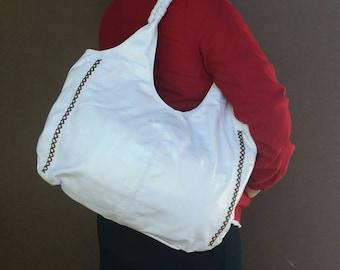 White leather purse -  boho chic handbag - tote - shoulder bag - handmade purses arely
