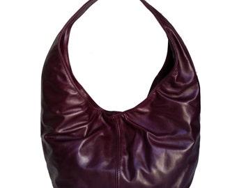 Women's Purple Leather Hobo Bag - Fashion Slouchy Handbag - Handmade Handbag - Gift for Her - alice