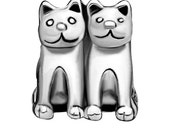 Twin Kitty Cat Spacer Bead  For European Style Charm Bracelet