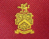 """CLASSY Vintage """"Heraldic Griffin / Griffon / Gryphon Crests"""" on Red Trad / Ivy League Emblematic Club Neck Tie."""