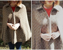 1960s vintage Welsh Wool cape brown cream Mod Sixties woven in Wales authentic