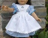 18 inch American Girl doll  blue gingham dress with white pinafore by  Project Funway on Etsy