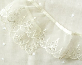 Vintage Sheer Off White Nylon 1-7/8 Inch Wide Eyelet Trim; 2, 34 Inch Pieces