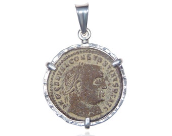 sterling silver ancient coin pendant, authentic roman coin in a silver pendant