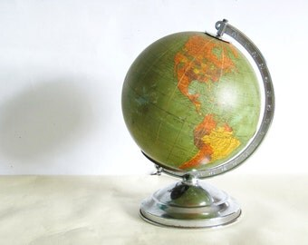 8 inch replogle world globe glass light up 1948
